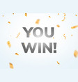 you win winner banner background vector image vector image