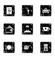 Hostel accommodation icons set grunge style vector image