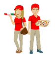 teenager delivery courier with pizza in boxes vector image