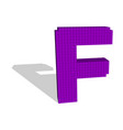3d pixelated capital letter f 3d vector image vector image