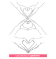 abstract valentines hearts of human hands vector image vector image
