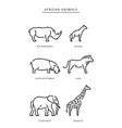 african savanna animals set outline vector image