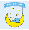 baby boy sleeping on the moon vector image vector image