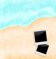 Beach background with set photo frames vector image vector image