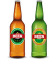 beer bottle with label and many water drops vector image