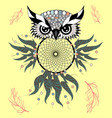 boho style colored owl with tribal arrows vector image