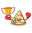 boxing winner crepe mascot cartoon style vector image vector image