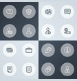 business icons line style set with setting vector image
