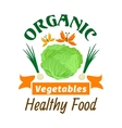 Cabbage Organic healthy vegetables emblem vector image vector image