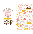 candy shop card template with tasty sweets vector image