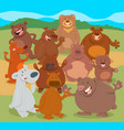 cartoon bears animal characters group vector image