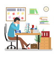 cartoon man overwork in office card poster vector image
