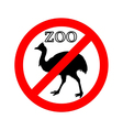 Cassowary in zoo prohibited vector image vector image
