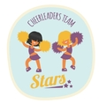 cheerleader girls team dancing with poms vector image vector image