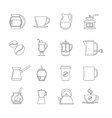 Coffee thin line icons set vector image vector image