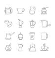Coffee thin line icons set vector image