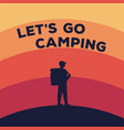 concept for a camping silhouette of vector image vector image