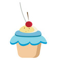 cute cupcake on white background vector image