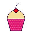 cute fuchsia cupcake cartoon vector image vector image