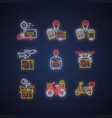delivery neon light icons set plane drone express vector image vector image