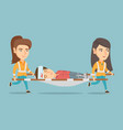 emergency doctors carrying woman on stretcher vector image