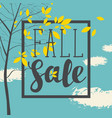 fall sale banner with inscription and branches vector image vector image