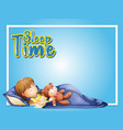 frame design template with little girl sleeping vector image vector image