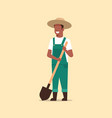 gardener holding shovel african american country vector image