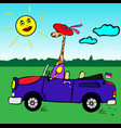 giraffe girl in a red hat rides in a blue car vector image vector image
