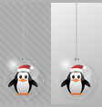 Glass christmas ball with penguin design template