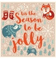 Greeting Holiday card with fox bear rabbit and