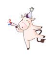happy cow celebrating new year 2021 isolated vector image