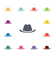 hat flat icons set vector image