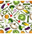Healthy organic vegetables seamless pattern vector image vector image