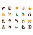 large set western flat icons vector image vector image