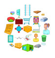 large warehouse icons set cartoon style vector image vector image