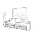 Modern interior room sketch Hand drawn sofa vector image vector image