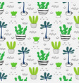 pattern with hand drawn plants in pots vector image vector image