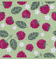 raspberry leaves flowers seamless pattern vector image vector image
