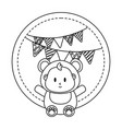 round frame with bear costume in black and white vector image
