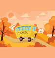 school bus traveling with children to vector image