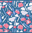 seamless pattern in blue and pink colors dedicated vector image vector image