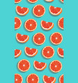seamless pattern slice orange fruits on green vector image