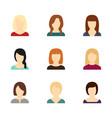 set avatars beautiful girls vector image
