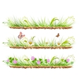 Set green grass on ground Grass flowers clover vector image