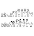 set happy cartoon doodle figure family stick vector image vector image