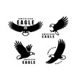 set logos american eagle in flight vector image vector image