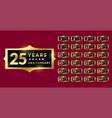 shiny golden anniversary labels or emblems set vector image vector image