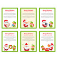 six merry christmas banners with santa and elf vector image vector image