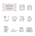Thin line icons set Kitchen vector image vector image